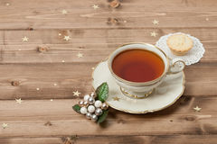 Cup Of Tea. Mince Pie. Shining Stars. Wooden Stock Photography