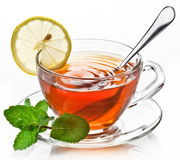Cup tea with mint Stock Photos