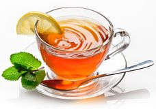 Cup tea with mint. Cup tea with mint isolated on a white background stock photography