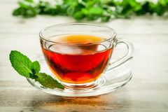 Cup of tea with mint leaves. Stock Photo