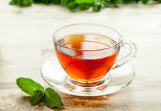 Cup of tea with mint leaves. Stock Image