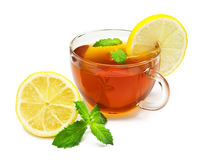 Cup tea with mint and lemon Stock Image