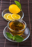 cup of tea with mint and lemon Royalty Free Stock Photos