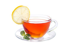 Cup of tea with mint and lemon Royalty Free Stock Image