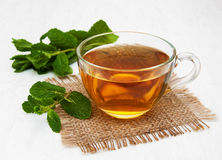 Cup of tea with  mint. On a old white wooden background Royalty Free Stock Photos