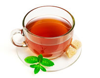 Cup of tea with mint and sugar Stock Image