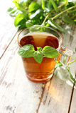 Cup of tea with mint on wooden boards Royalty Free Stock Photography