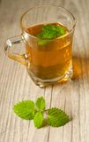 Cup of tea with mint on wooden table Stock Photos