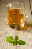 Cup of tea with mint on wooden table Stock Image