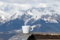 Cup of Tea on Mountains Background Stock Photography