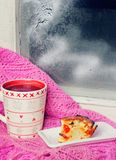 Cup of tea near the winter window Stock Images