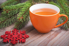 Cup of tea in the New Year still life. Royalty Free Stock Photo