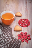 Cup of tea in the New Year still life. Stock Photo