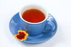 The cup of tea with nice flowers. The blue cup of tea with nice flowers Stock Image