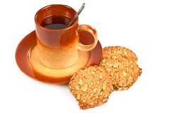 Cup of tea and oatmeal cookies Royalty Free Stock Photos