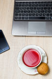 Cup of tea in office Royalty Free Stock Image