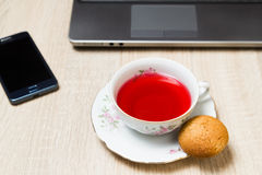 Cup of tea in office Royalty Free Stock Photography
