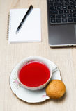 Cup of tea in office Royalty Free Stock Photo