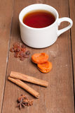 Cup of tea on an old wooden table. small depth of field Stock Photography