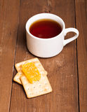 Cup of tea on an old wooden table. small depth of field Royalty Free Stock Photography