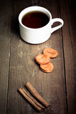 Cup of tea on an old wooden table. small depth of field Royalty Free Stock Images