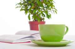 Cup of tea, open book and indoor plant. Concept of reading, stud Royalty Free Stock Photo
