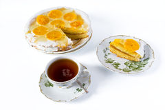 Cup of tea and orange cake Royalty Free Stock Photography