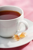 Cup of tea over pink Stock Photo