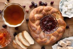 Cup of tea with pastry and jam Royalty Free Stock Photo