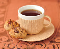 A Cup of Tea with Peanut Cookies Stock Photography