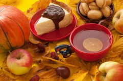 A  cup of tea, a piece of an appetizing cake with melted chocolate on it, a pumpkin, apples, autumn leaves and chestnuts Royalty Free Stock Photography