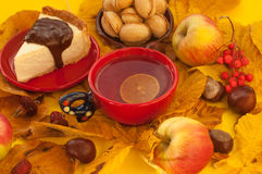 A  cup of tea, a piece of an appetizing cake with melted chocolate on it, a pumpkin, apples, autumn leaves and chestnuts Stock Image