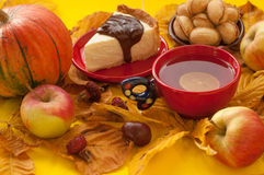 A  cup of tea, a piece of an appetizing cake with melted chocolate on it, a pumpkin, apples, autumn leaves and chestnuts Stock Images
