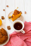 Cup of tea and a piece of carrot cake Royalty Free Stock Photos