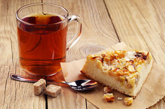 Cup of tea and piece pie Stock Image