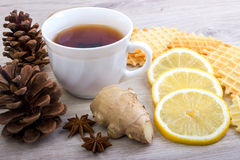 Cup of tea with pinecone, badian, ginger, waffles and cinnamon Stock Photos