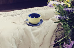 Cup of tea on plaid Royalty Free Stock Photography