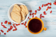 Cup of tea and a plate of cookies Royalty Free Stock Images