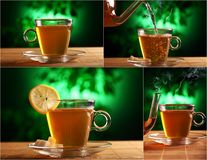Cup of tea on a plate with mystical background Stock Photos