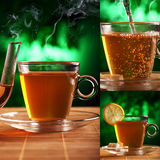 Cup of tea on a plate with mystical background Stock Image