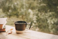 Cup of tea at a rainy window autumn mood day leaf. Fall background with copy space royalty free stock photography