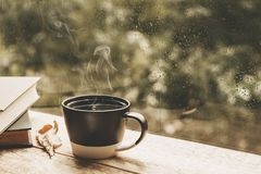 Cup of tea at a rainy window autumn mood day leaf. Fall background with copy space royalty free stock photo