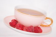 Cup tea raspberry Royalty Free Stock Photography