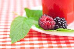 Cup of tea,raspberry and  blackberry with leaves Stock Image