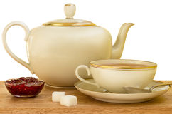 Cup of tea and raspberry jam Royalty Free Stock Photography