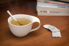 A cup of tea. Relaxing moment with a hot cup of tea stock photo