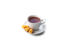 Cup of tea with rolls. On white background Stock Image