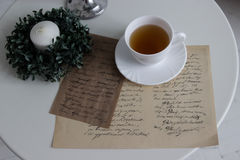 Cup of tea and romantic letter Royalty Free Stock Images