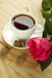 A cup of tea and rose Royalty Free Stock Photos