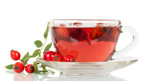 Cup of tea from rose hips isolated on  white background. Royalty Free Stock Photography